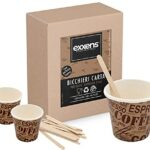 100 vasos de café de papel biodegradables tazas de 75 ml + 100 paletas de madera de abedul