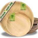 Platos desechables de hoja de palma 24 Piezas, 12 Platos redondo de 25 cm y 12 Platos de 18 cm. vajilla rustica de madera para barbacoas y fiesta de cumpleaños. Biodegradable libre de plástico.