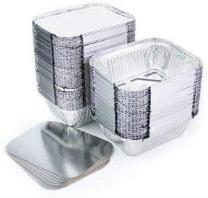 Juego de 100 bandejas de aluminio desechables con tapa para transportar alimentos, congelar, cocinar (1 compartimento de 250 ml)