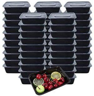 [50 piezas] 750ml Meal Prep Containers 1 Compartimiento Contenedor Alimentos Contenedor Comida Hecho de Plástico Sin BPA, Apilable, Apto para Microondas, Congelador y Lavavajillas - 750ML