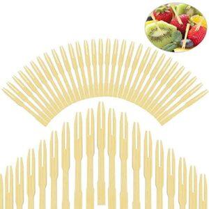 EMAGEREN 400 pcs Tenedores Desechables Tenedores de Bambú Tnedor de Fruta de Madera Cubiertos de Bambu Pequeños Tenedores Biodegradables para Comdidas Frutas Fiesta/Reunión/Hogar/Oficina/Escuela