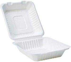 Amazon Basics - Recipientes de comida desechables, diseño de almeja, con bisagras, convertibles en abono ecológico y biodegradables, 22 x 22 x 8 cm, 25 unidades