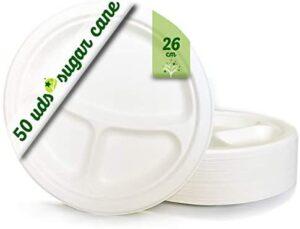 GoBeTree 50 Platos Desechables Biodegradable de Papel de caña de azúcar Vajilla desechable extrafuertes de Color Blanco. Platos Redondos con 3 Compartimentos de 26 cm.