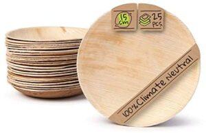 BIOZOYG Palmware Platos de Hojas de Palma I 25 Piezas de ojas de Palma Redondo Ø 15 cm I Bio vajilla desechable Boda compostable Biodegradable Vajilla de Fiesta