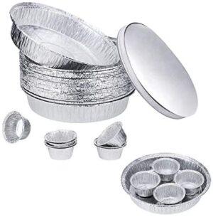 25 Bandejas Grandes Aluminio Desechables Redondo De con Tapas 23CM,8 Moldes Tazas de Papel Aluminio Pequeño 8CM,Contenedor de Comida Recalentar Calefacción Horneando Para Horno y Barbacoa
