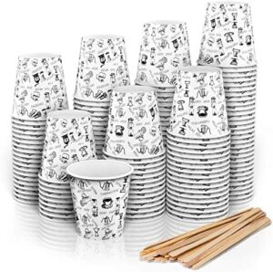 280 Vasos Carton Desechables para Café Espresso 110 ml con Agitadores de Madera para Café para Llevar