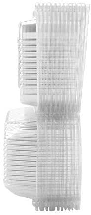 50 recipientes de plástico transparente con bisagras - Recipientes para llevar de un solo compartimento para tartas, pasteles, ensaladas - Cajas de plástico desechables Togo con tapas para el hogar, l