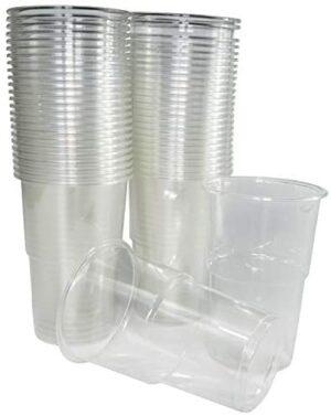 50 vasos de 300 ml. Vasos biodegradables de plástico orgánico reutilizables. Vasos PLA transparentes para bebidas frías, Vasos ecológicos reutilizables para fiestas, campings, eventos y cumpleaños.