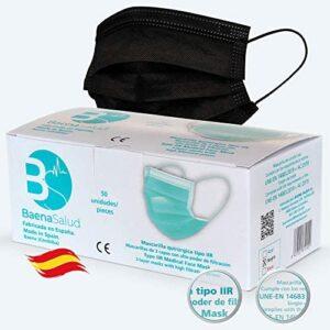 BAENA SALUD 100 Mascarillas Quirúrgicas, higiénicas, desechables, Tipo IIR, en color negro, filtración (BFE) 98%, hechas en España