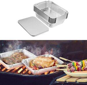 ConBlom Bandejas de Aluminio Desechables, Papel de Aluminio, 30 Piezas, bandejas Redondas de Comida Desechables de 1000 ml para Barbacoa, horneado, envasado de Alimentos