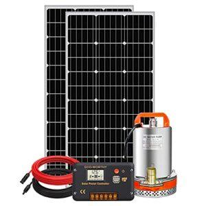 DC HOUSE - Sistema de Bombeo con energía Solar, Panel monocristalino + Bomba de Utilidad Sumergible + Controlador de 20 A para la irrigación del Agua