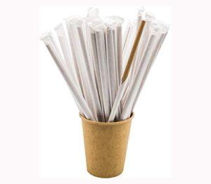 Don Palillo - 250 Pajitas de Papel. Envueltas Individualmente. Papel Kraft. Biodegradables. 200 x 6mm