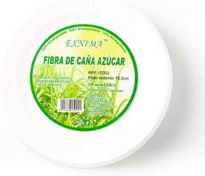 EXNIMA - Platos Desechables biodegradables - Vajilla desechable de Papel de caña de azúca - Platos Llanos Redondos 20cm - 50 Unidades