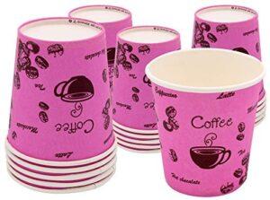 Exxens 80 vasos biodegradables de papel de colores fucsia rosa ecológicos biológicos compostables USA y desechable para café, Tisane Chocolate Te Cappuccino