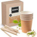 Exxens Vasos de papel para capuchino, grandes, biodegradables compostables ecológicos, tazas de cartón desechables Habana con paletas de madera (100)