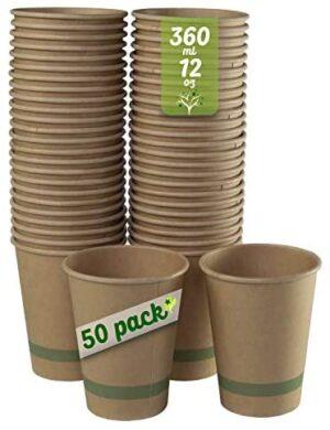 GoBeTree 50 Vasos Desechables caf茅 Papel Kraft con PLA de 360 ml / 12 oz. Vasos biodegradables. Tazas Resistentes. Color marr贸n.