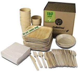 GoBeTree Vajilla desechable Hoja de Palma de 180 Piezas para 25 Personas. Platos biodegradables de Hoja de Palma Incluye 30 Platos, 25 Tenedores, 25 Cuchillos, 25 cucharas, 25 Vasos y 50 servilletas.