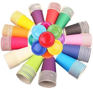 Jicyor 30pcs Vasos de Papel Desechables para Fiestas, Vasos Carton de Colores Biodegradables Vaso de Papel con Plato de Papel Redonda para Bebidas Calientes y Frías Bodas Bricolaje