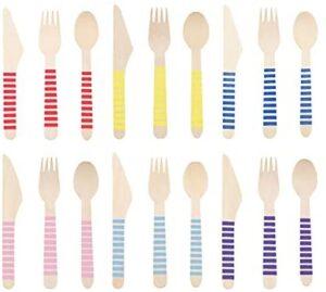 Juego de cubiertos de madera desechables, en caja biodegradables utensilios de fiesta, belleza rayas coloridas ecológicas, tenedores de madera, cucharas de madera, cuchillos de madera