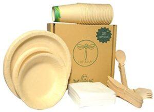 LIBELULUM Pack Vajilla Desechable Biodegradable de 20 servicios. Incluye vasos y platos de bambu, cubiertos de madera, 2 cuencos y servilletas.
