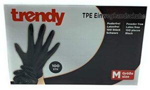MC-Trend - 100 guantes desechables de TPE, color negro, sin polvo, sin látex, en caja dispensadora
