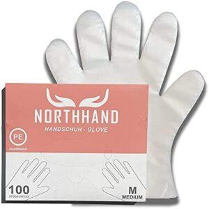 NORTHHAND Guantes desechables de polietileno, 10000 unidades, talla M/L, guantes transparentes de polietileno prácticos, caja dispensadora, guantes desechables
