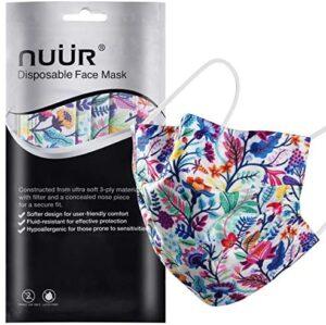 NUÜR 10 máscaras desechables florales de 3 capas, máscara con capa de filtro y lazo elástico para la oreja, bolsas selladas al por menor
