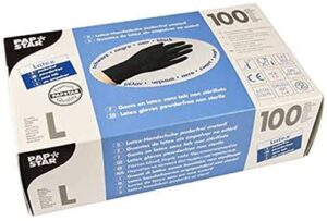 Papstar - Guantes de látex natural sin polvo, talla L, 100 unidades, color negro