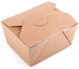 Paquete de 50 cajas desechables de papel kraft para comida rápida para llevar, a prueba de fugas (50, 600 ml)