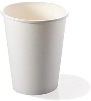 Vasos biodegradables y compostables, 50 unidades desechables de papel y PLA ecológicos desechables, desechables, en orgánico, 240 ml