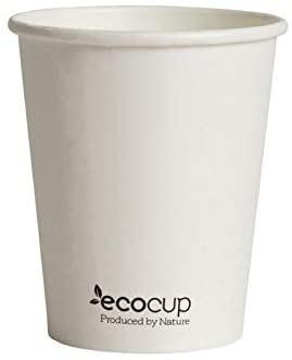 Vasos de Café Desechables, Biodegradables y Compostables- 50Uds 285ml/ 8oz -Materiales 100% Ecológicos: Cartón con Certificado FSC®, Revestimiento de Bioplástico PLA Ingeo™. Blanco