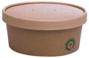 bio3 Contenedor Desechable con Tapa Comida para Llevar, Envases Take Away, Ideal para Alimentos con liquido 100% Biodegradable y Compostable, Paquete con 25 Juegos (25 envases + 25 Tapas) (750ml)