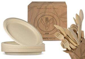 greenpiece ® 25 Platos Llanos de Fibra de Bambú 25cm + 25 juegos de cubiertos | Gran Resistencia | Embalaje sin plástico | Desechables | Ecológicos | Biodegradables | Picnic, Camping, Cumpleaños