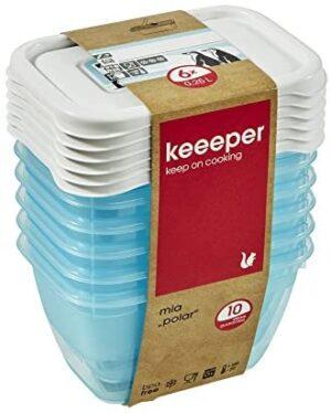keeeper MIA Polar Botes para Alimentos, PP, Ice Blue (Transparente), 6X 250 ml, 6
