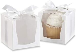 kitchen-dream Cake Boxes-Paperboard White Lock Corner Window Bakery Box, Contenedores Desechables para Pasteles, Postres para Cake Candy Holiday Party Birthday-12 Pcs 3.5 * 3.5 * 3.5Inch