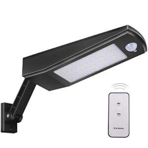 【2021 Nueva Tecnología】Luz Solar 48 LED 4500mAh 900lm IP65 Impermeable Luces de Seguridad al Aire Libre con Soporte y Control Remoto, Sensor de Movimiento Infrarrojo 120° Focos Solares Exterior