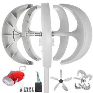 BuoQua Aerogenerador 600W 12V Generador de Turbina Eólica Linterna Blanca Generador de Viento Vertical 5 hojas con Controlador