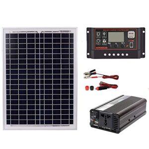 Cikuso 18V20W Panel Solar 12V / 24V Controlador 1500W Kit Inversor Ac220V, Adecuado para Sistemas De Generación De Energía De Ahorro De Energía Solar Al Aire Libre Y En Casa Ac220V, 60A