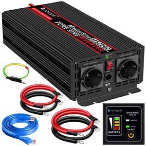 Convertidor de Voltaje de Onda sinusoidal Pura para Coche de 2000W - convertidor de Coche de 12v a 230v-convertidor de inversor con 2 enchufes EU y Puerto USB - Potencia Pico 4000 Watt