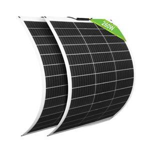 ECO-WORTHY Paquete de 2 Paneles Solares Flexibles 130W 12V Módulo Monocristalino para Cargar Batería de 12V / Coche/Barco/Caravana