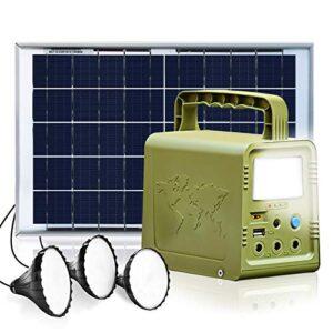 ECO-WORTHY Sistema de iluminación generador solar estación energía portátil con panel solar 18W y lámpara LED Energía de respaldo de emergencia Hogar Camping Viajes Pesca Caza