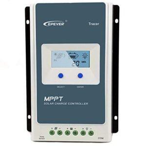 EPEVER Controlador de Carga Solar MPPT de 20 A con Pantalla LCD integrada para Paneles solares de hasta 260 W (Sistema de batería de 12 V) / 520 W (Sistema de batería de 24 V) hasta 100 V.