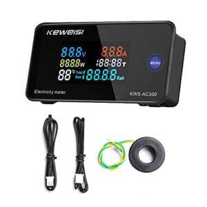 Kecheer Voltímetro amperímetro digital,Medidor de voltaje/amperaje/potencia/temperatura y humedad, AC50-300V
