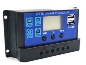 Regulador controlador de carga solar 30A para placas e instalaciones 12/24V - Controlador solar inteligente con 2 puertos USB de 5V pantalla LCD - Ajuste de batería y panel solar - Blakach