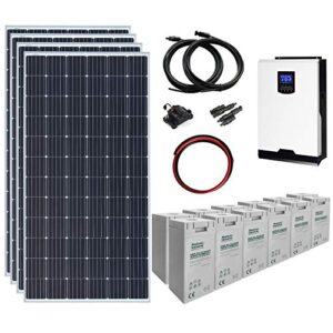 Sistema de energía solar completo de 1,4 kW y 24 V con 4 paneles solares de 360 W, inversor híbrido de 3 kW y un banco de baterías de 7,2 kWh