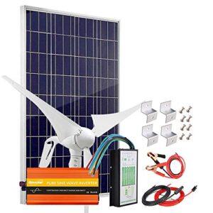 Sistema híbrido de 500 vatios de energía solar eólica generador de turbina eólica de 400 W + 1 panel solar policristalino de 100 W + inversor de onda pura de 1000 W + controlador de carga